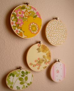 Vintage Upcycled Fabric Wall Art- Embroidery Hoop Frame- Set of  Five-  Sunny Yellow, Grass Green, Pink. $22.00, via Etsy.