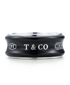 Tiffany  Co 1837 Ring With Titanium In Midnight