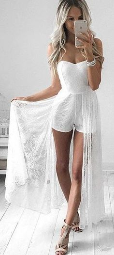 #summer #style | Off The Shoulder Sexy and Bridal Princess Romper