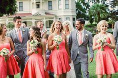 by Chelsea Elizabeth Photography - Wedding Party // Camarillo Ranch // Donna Morgan // Summer // Coral & Gray