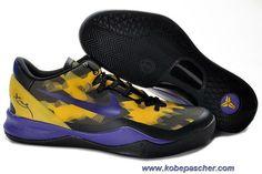 555035-103 Nike Zoom Kobe VIII 8 Noir Pourpre Jaune Vente