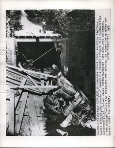 1949 Press Photo Concrete Mixer Truck On Collapsed Wooden Bridge Kansas City Cement Mixer Truck, Concrete Mixers, Steam Engine, Vintage Trucks, Press Photo, Old Cars, Kansas City, City Photo, Bridge