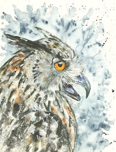 "Original Painting ""Eagle Owl"""