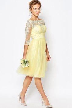 Yellow lace bridesmaid dress