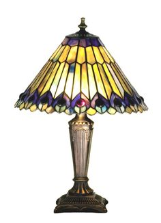 17 Inch H Tiffany Jeweled Peacock Accent Lamp