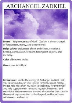 Invoking the Archangels Oracle Cards Archangel Zadkiel, Archangel Prayers, Angel Spirit, Angel Guide, Spiritual Messages, Angel Cards, Emotional Healing, Guardian Angels, Oracle Cards