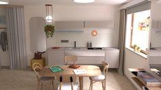 Studio flat designed by Klimat - Anna Lignowska-Klimek Living Room Designs, Living Rooms, Tiny Studio, Flat Design, Office Desk, Anna, Interior Design, Furniture, Home Decor