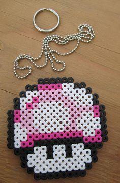 Nintendo Mario Pink Mushroom Perler beads by GiacomoDesigns