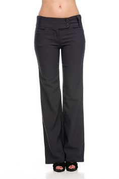 Sleek Office Dress Pants with Double Buttons (Dark Grey) – Niobe Clothing