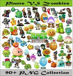 Plants VS Zombies PNG Vector Instant Download PNG Disney Clipart Digital Albums Magnets Collage Greeting Cards Sticker Printable Party Items by SlavGraphics on Etsy