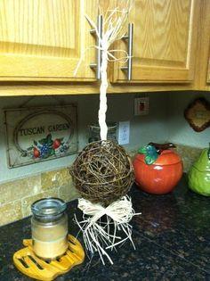 My DIY rustic/natural Gazebo Decor :  wedding altar decorations ceremony diy gazebo grapevine swag VinePomander1