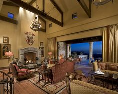 Tuscan inspired design - Great Room with exposed beams - - IMI Design Studio