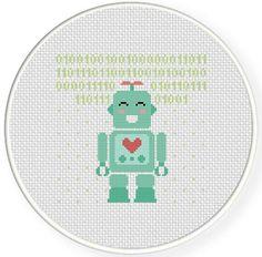 I Love You Robot Cross Stitch Pattern
