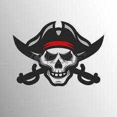 pirate: Pirate Skull and swords. Symbol mascot logo.