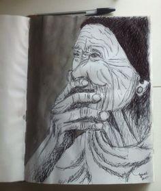 Old lady - pen en ecoline