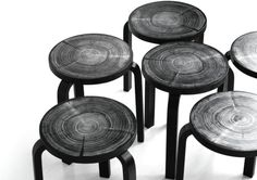 Rings, a series of stools inspired by natural tree rings for Artek by Nao Tamura.