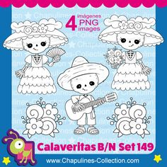 Clipart de Calaveritas en blanco y negro, Catrina, Músico, guitarra, Día de muertos Set 149 Halloween Clipart, Halloween Drawings, Halloween Signs, Halloween Crafts, Doodle People, Paper Puppets, Hobbies To Try, Day Of The Dead Skull, Sugar Skull Art