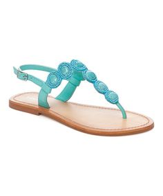 Another great find on #zulily! Turquoise Beaded Leather Sandal #zulilyfinds