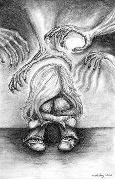 """The Devils Hands- The Four Types of Abuse. Emotional Abuse, Sexual Abuse, Physical Abuse, Verbal Abuse to read about my art, press the """"read it"""" button My life Sad Drawings, Drawing Sketches, Pencil Drawings, Drawing Ideas, Meaningful Paintings, Meaningful Drawings, Depression Artwork, Arte Obscura, Drawing Tips"""