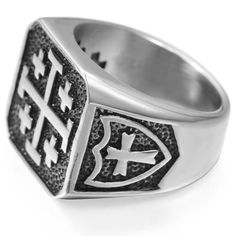 Jerusalem Cross Silver Color Knight Templar Ring Item Type: Rings Shapepattern: Cross Metals Type: Stainless Steel Surface Width: Material: Metal We ship worldwide to 185 countries! Please allow business weeks for your order to arrive. Knights Templar Ring, Meteorite Wedding Band, Jerusalem Cross, Masonic Jewelry, Mode Rock, Medieval Jewelry, Medieval Knight, Volkswagen New Beetle, Stainless Steel Rings