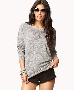 THE BEST LIGHT SWEATER EVER- SMALL No-Fuss Melange Tunic | FOREVER 21 - 2000011319