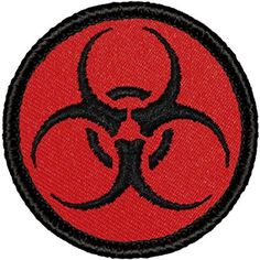 "Retro Red and Black Biohazard Symbol Patrol Patch - 2"" Round"