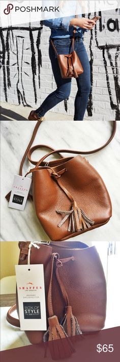 Schaffer Rachel Zoe Leather Bucket bag NWT beautiful bag from Shaffer LA. Perfect for concerts or that m smaller purse you need! Great as a crossbody or wear on shoulder. Tie drawstring for closure. Genuine leather. Rachel Zoe Bags Crossbody Bags