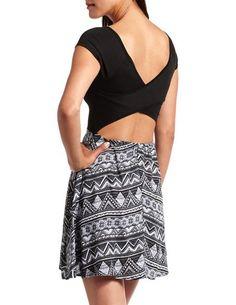 Crisscross Back Aztec Skater Dress: Charlotte Russe