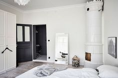my scandinavian home: A grey-scale Swedish apartment with a dreamy bedroom