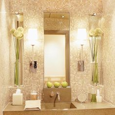 the glass tile mosaic walls & Mirrored niches