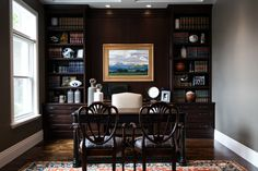 A perfect home office for any football fan wanting to live in luxury. Interior design done by Lisman Studio.