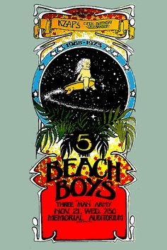 Beach Boys - The Beach Boys at Sacramento Concert Poster 1973 in Surf Music Posters