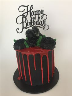 Black Rose Cake Black Buttercream with Red Chocolate Drip Black Buttercream Roses