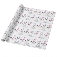 Dalmatian And Snowman Wrapping Paper