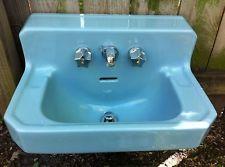 Vtg American Standard Blue Bathroom Sink With Faucet