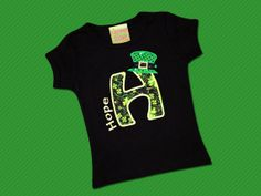 Girls St Patrick's Day shirt with Embroidered Name by SunbeamRoad, $24.00