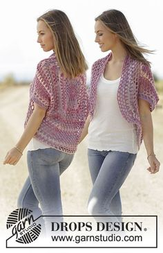 Shoulder piece with crochet square, crochet in DROPS Big Delight. Size S-XXXL. Free pattern by DROPS Design.