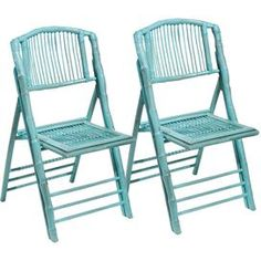 """Enjoy breezy island style indoors and out with this classic bamboo and rattan chair.   Product: Set of 2 chairsConstruction Material: Bamboo and rattanColor: Antique turquoiseDimensions: 35"""" H x 19"""" W x 22"""" D eachShipping: This item ships small parcelExpected Arrival Date: Between 04/16/2013 and 04/24/2013Return Policy: This item is final sale and cannot be returned"""