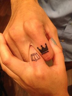 Crown On Index Finger Couple Tattoo