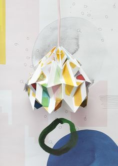 """Moth origami lampshade """"Midzomer"""" - in collaboration with Tas-ka Origami Lampshade, Centella, Eco Friendly Paper, Color Effect, How To Make Light, Colored Paper, Paper Goods, Moth, Something To Do"""