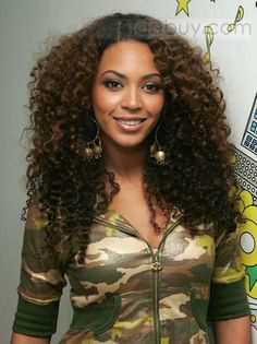 Stylish Beyonce African American Hairstyle Long Curly Brown Full Lace Wig 100% Human Hair about 18 Inches