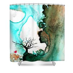 """Love Has No Fear - Art By Sharon Cummings Shower Curtain for sale by Sharon Cummings.  This shower curtain is made from 100% polyester fabric and includes 12 holes at the top of the curtain for simple hanging.  The total dimensions of the shower curtain are 71"""" wide x 74"""" tall."""