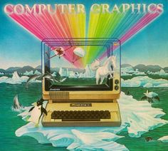 unicorn retro rainbow computer graphics ( vintage apple computer advertisement )