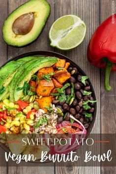 This vegan burrito bowl recipe with crispy roasted sweet potatoes is an easy way to put a healthy vegan dinner on the table. This homemade vegan bowl recipe also includes red rice, black beans, corn salsa, pickled red onions and fresh avocado. #veganburritobowl #healthyburritobowl #burritobowl #veganburritorecipe