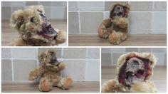 Zombie Teddy Bear Ripping face off exposing skull.