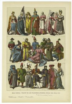 Middle Age French Fashions from the first half of the 1400's - Spanish print from 1894