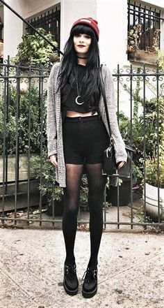 Beanie hat with choker, oversized cardigan, black shorts, stocking & creepers shoes by jaglever