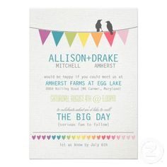 DealsRustic Bridal Shower Rainbow Bunting Love Birds Personalized Invitationstoday price drop and special promotion. Get The best buy Personalized Invitations, Rustic Invitations, Custom Wedding Invitations, Bridal Shower Invitations, Invites, Rainbow Wedding Dress, Rainbow Bunting, Wedding Bunting, Love Birds Wedding
