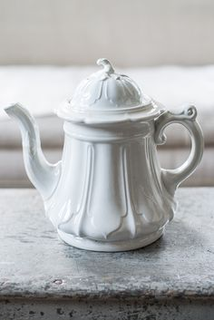 White ironstone teapot with leaf relief.  Miss Mustard Seed-8718