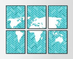 World Map Herringbone Set of 6 Art Prints - Modern Wall Art - Turquoise Blue & White World Map Silhouette - Home Dorm Decor